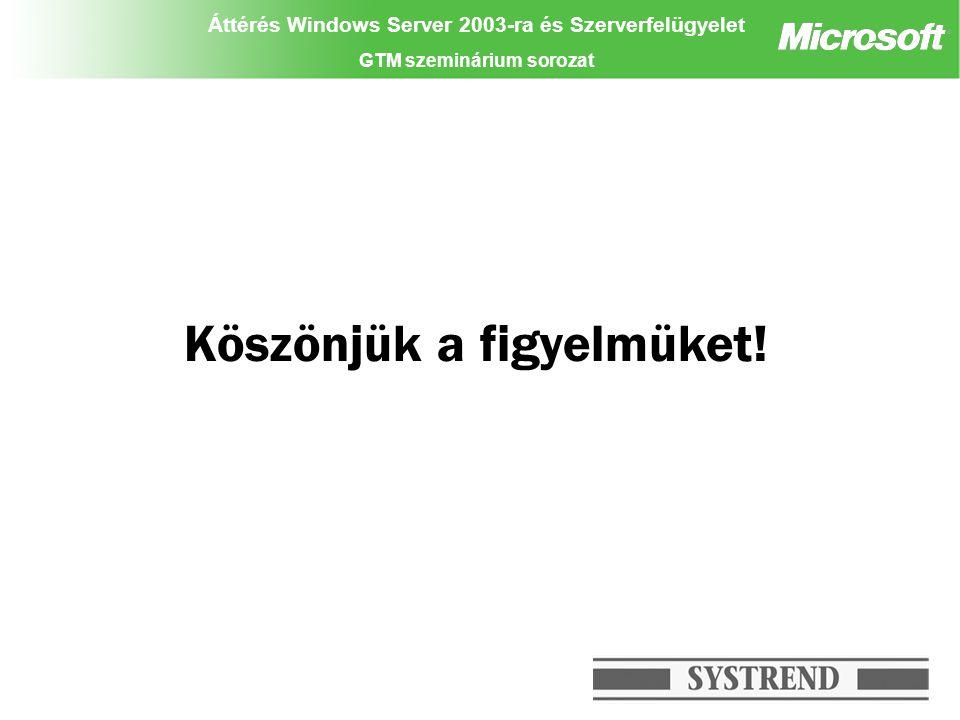 Áttérés Windows Server 2003-ra és Szerverfelügyelet GTM szeminárium sorozat Köszönjük a figyelmüket! Partner logo