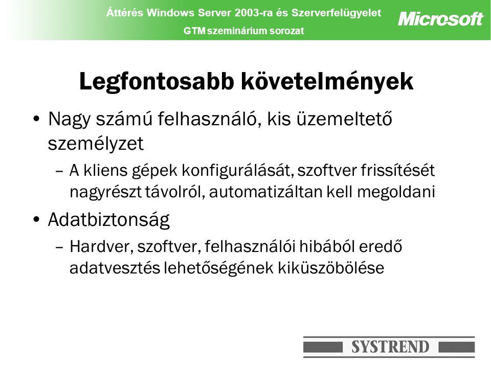Áttérés Windows Server 2003-ra és Szerverfelügyelet GTM szeminárium sorozat Üzemeltetés Könnyebb felügyelet csoportházirendek segítségével OU szinten –Öröklődés (VIP, IT üzemeltetés, stb...) –Offline folderek –My Documents átirányítása –Office 2003 konfiguráció, központi sablonok –Felhasználói környezet testreszabása (Start menü, desktop, stb) Szerepkörön alapuló hozzáférés- szabályozás –Az adminisztratív jogosultságok az egyes OU-kon szabályozva vannak GPMT: group policy-k érvényességi körének, hatásának gyors elemzése