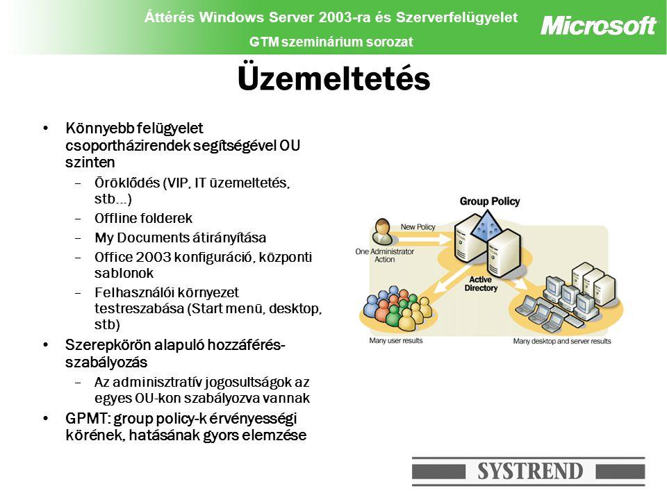 """Áttérés Windows Server 2003-ra és Szerverfelügyelet GTM szeminárium sorozat Systems Management Server Központosított kliens és szerver menedzsment –Adminisztratív jogok meghatározása –Ütemezhető műveletek –Automatikus, dinamikus szoftver terítés akár AD objektum szinten (OU, csoport,stb) Office 2003 Windows Messenger Java környezet –A műveletek eredményeit a HelpDesk dolgozói bármikor lekérdezhetik –Patch management Értesülés a frissítésekről (hírlevél, stb) SMS 2003 : Software Update Scanning Tools –Automatikus kliens konfiguráció vizsgálat (hiányzó patch-ek megállapítása) –Az eredmények alapján csak a szükséges frissítések telepíthetők Tesztkörnyezetben próbaüzem, siker esetén éles terítés –Hardver, szoftver leltár (telepített programok, """"házi zenetár ) """"gyenge munkaállomások kiszűrése"""