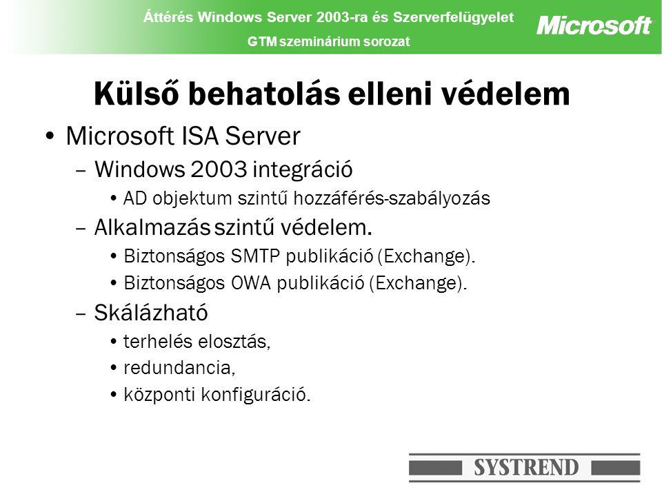 Áttérés Windows Server 2003-ra és Szerverfelügyelet GTM szeminárium sorozat Külső behatolás elleni védelem Microsoft ISA Server –Windows 2003 integrác
