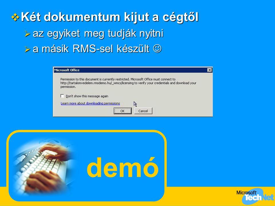 A mai napirend Igazgatói rendelkezések Akciós ajánlat részletei a kereskedők számára A felhasználó gépén nincs RMS ügyfél Otthoni felhasználók Külső, egyéni felhasználók Más cég felhasználói Összehasonlítás más titkosítási technológiákkal A bizalmas információ Az RMS komponensei Az RMS adminisztrációja Sablonok