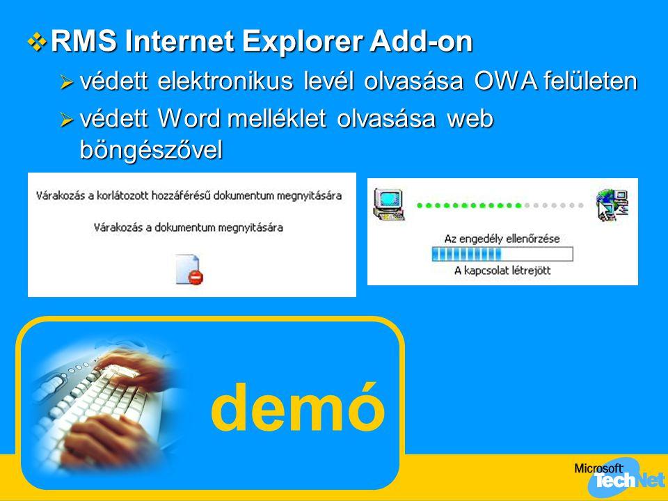 demó  RMS Internet Explorer Add-on  védett elektronikus levél olvasása OWA felületen  védett Word melléklet olvasása web böngészővel