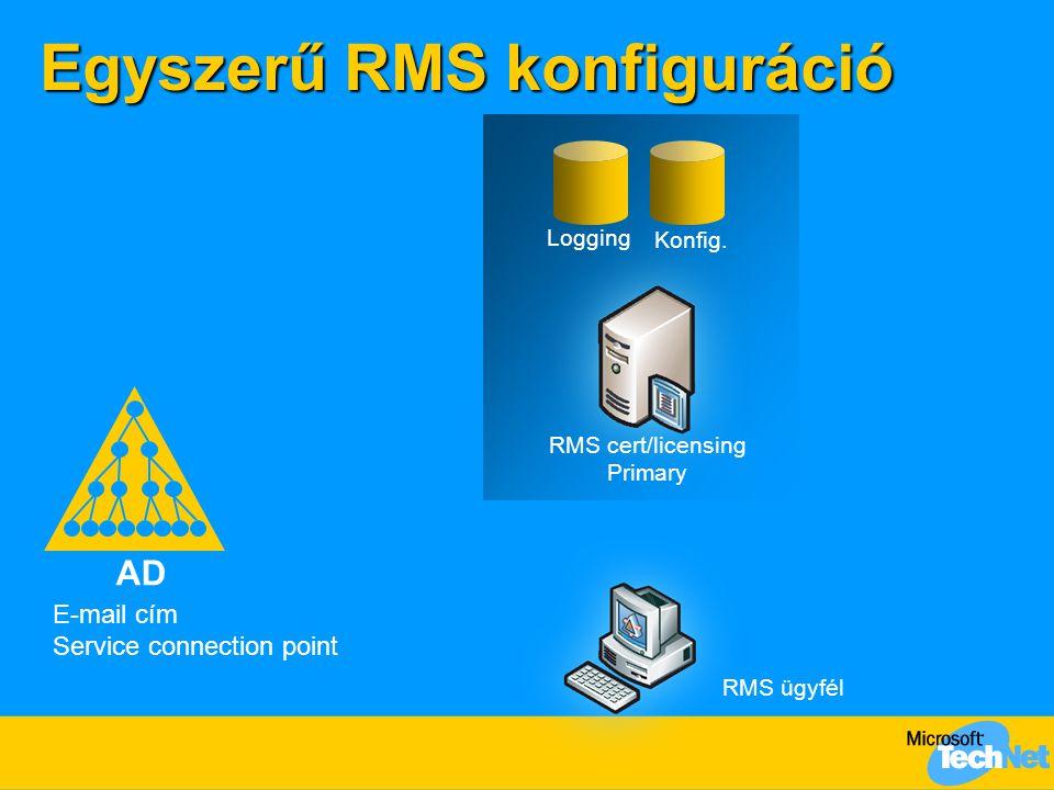 Növelt rendelkezésre állású RMS konfiguráció AD Logging Konfig.