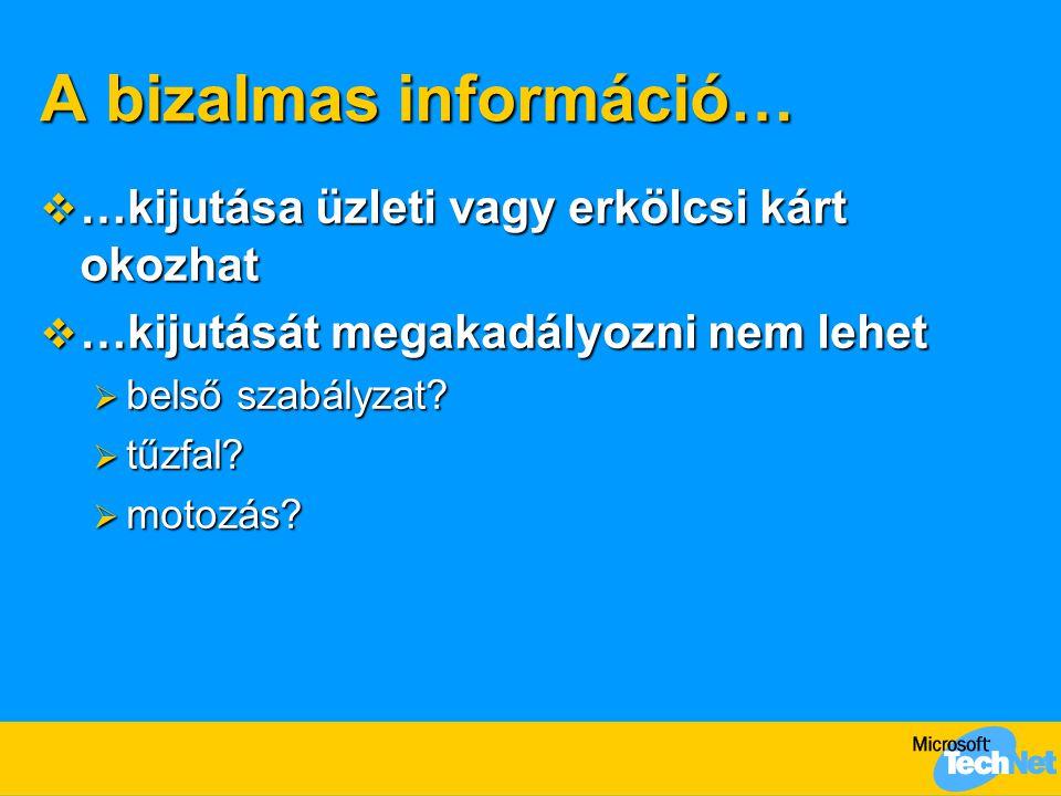 A bizalmas információ…  …kijutása üzleti vagy erkölcsi kárt okozhat  …kijutását megakadályozni nem lehet  belső szabályzat.