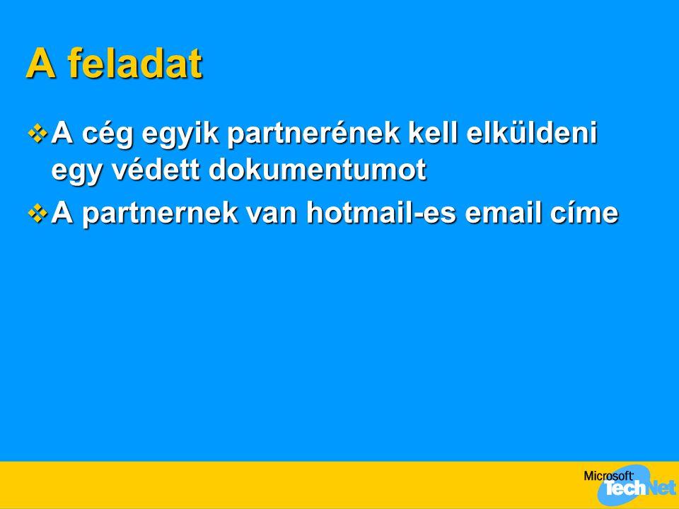 A feladat  A cég egyik partnerének kell elküldeni egy védett dokumentumot  A partnernek van hotmail-es email címe
