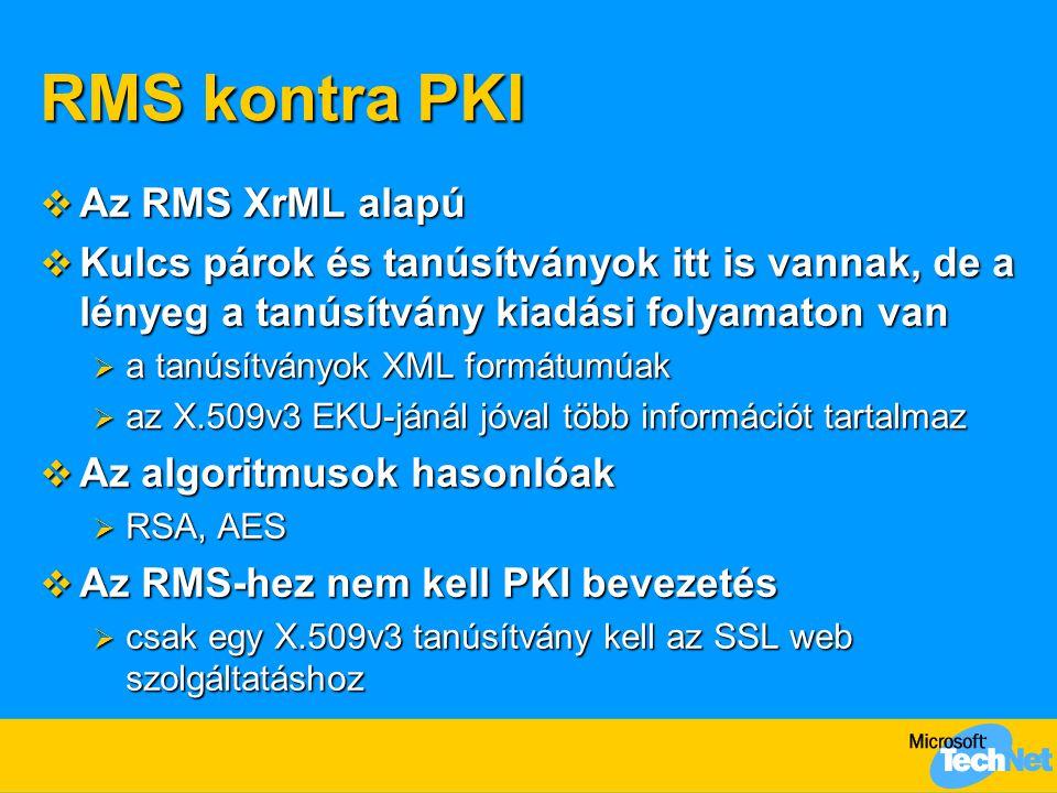 RMS kontra PKI  Az RMS XrML alapú  Kulcs párok és tanúsítványok itt is vannak, de a lényeg a tanúsítvány kiadási folyamaton van  a tanúsítványok XML formátumúak  az X.509v3 EKU-jánál jóval több információt tartalmaz  Az algoritmusok hasonlóak  RSA, AES  Az RMS-hez nem kell PKI bevezetés  csak egy X.509v3 tanúsítvány kell az SSL web szolgáltatáshoz