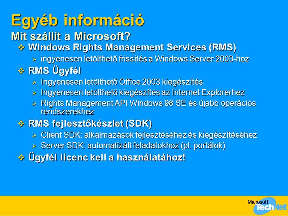 Egyéb információ RMS kompatibilis alkalmazások AlkalmazásLétrehozásHasználat Office 2003 Professional  Igen Office 2003 Standard  N em  Igen Egyedi Office 2003 alkalmazások  Igen Office XP  N em Office 2000  N em Rights Management Add-on for Internet Explorer  N em  Igen