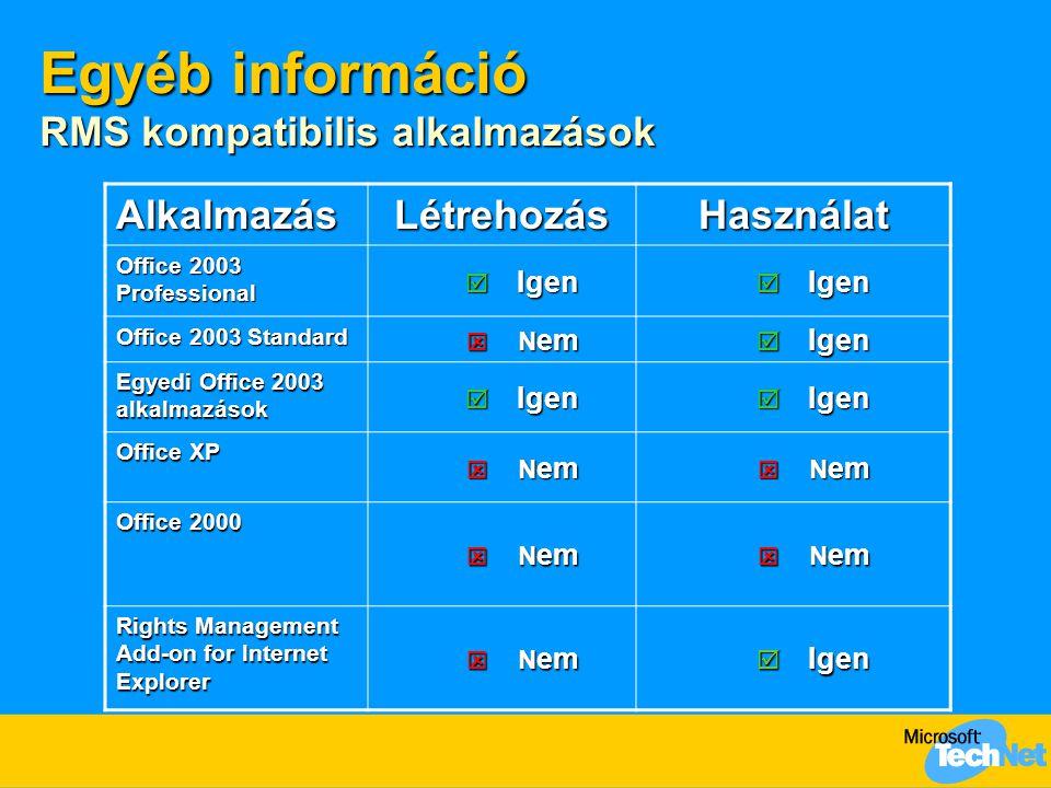 Egyéb információ Konfiguráció  Gép kézzel történő aktiválása  %systemroot%\system32\drm\actmachine  RMS Toolkit 1.0  http://www.microsoft.com/rms alól letölthető http://www.microsoft.com/rms  hibakereső eszközök gyűjteménye