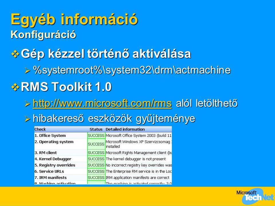 Egyéb információ  RMS weboldal  http://www.microsoft.com/rms http://www.microsoft.com/rms  XrML 1.2.1  http://www.xrml.org http://www.xrml.org