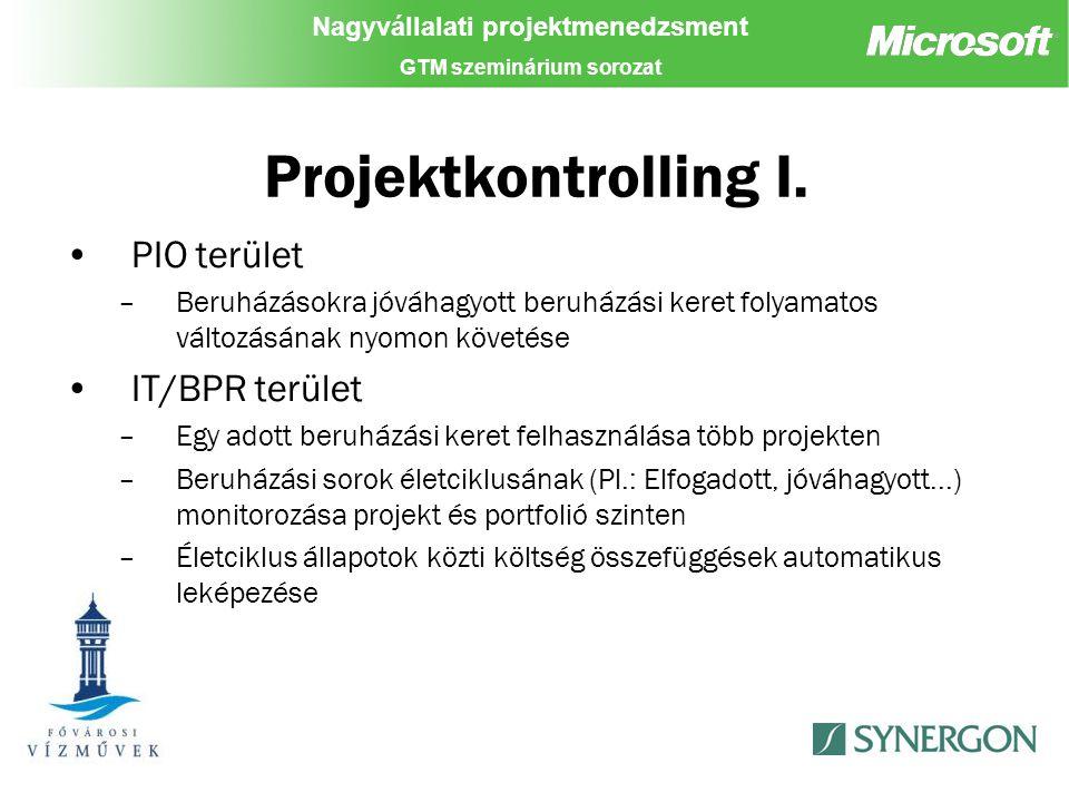 Nagyvállalati projektmenedzsment GTM szeminárium sorozat Projektkontrolling I.