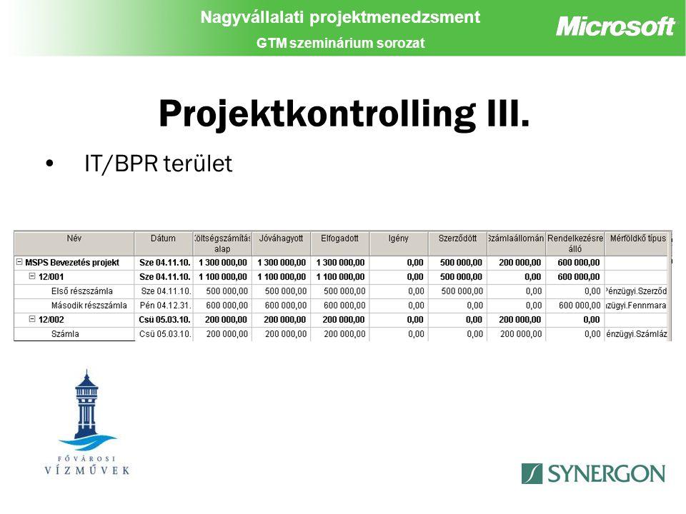Nagyvállalati projektmenedzsment GTM szeminárium sorozat Projektkontrolling III. IT/BPR terület