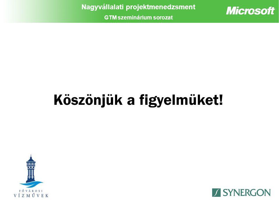 Nagyvállalati projektmenedzsment GTM szeminárium sorozat Köszönjük a figyelmüket!