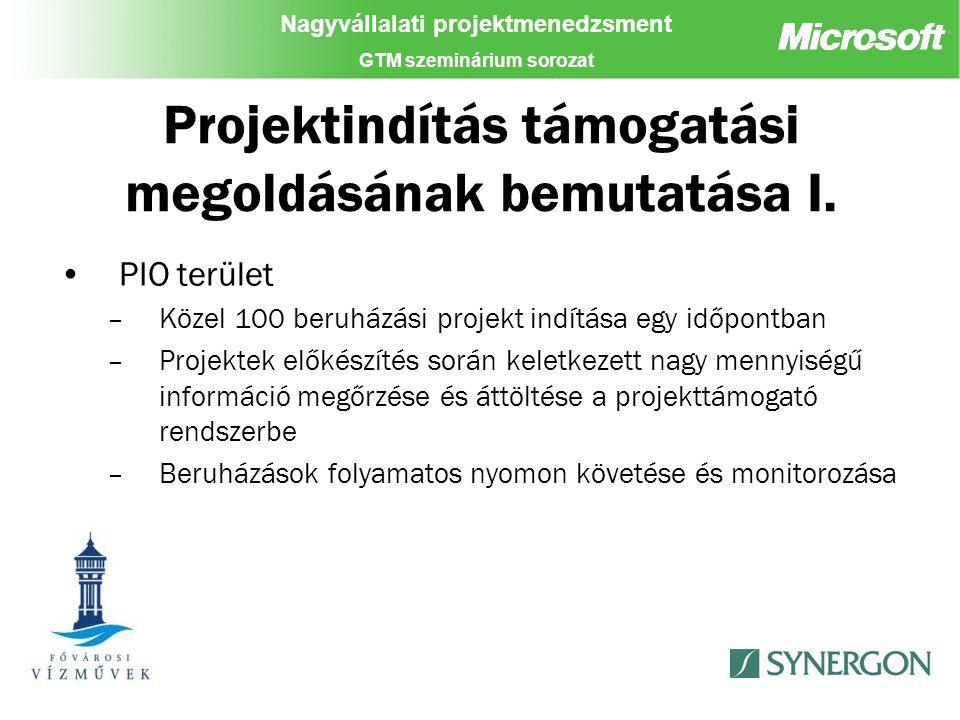 Nagyvállalati projektmenedzsment GTM szeminárium sorozat Projektindítás támogatási megoldásának bemutatása I.