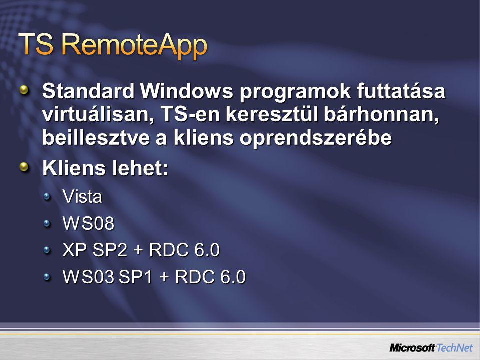 Standard Windows programok futtatása virtuálisan, TS-en keresztül bárhonnan, beillesztve a kliens oprendszerébe Kliens lehet: VistaWS08 XP SP2 + RDC 6.0 WS03 SP1 + RDC 6.0