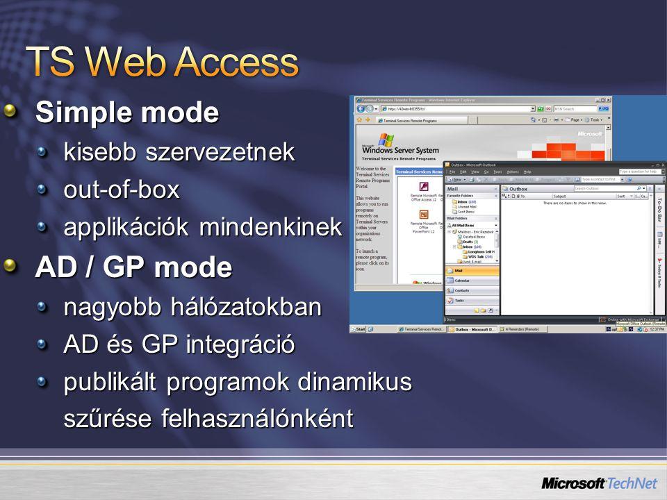 Simple mode kisebb szervezetnek out-of-box applikációk mindenkinek AD / GP mode nagyobb hálózatokban AD és GP integráció publikált programok dinamikus szűrése felhasználónként