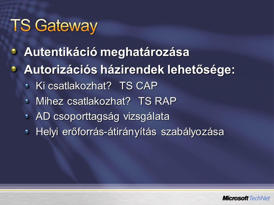 Autentikáció meghatározása Autorizációs házirendek lehetősége: Ki csatlakozhat.