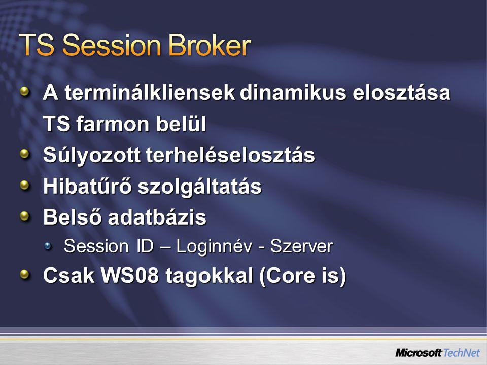 A terminálkliensek dinamikus elosztása TS farmon belül Súlyozott terheléselosztás Hibatűrő szolgáltatás Belső adatbázis Session ID – Loginnév - Szerver Csak WS08 tagokkal (Core is)