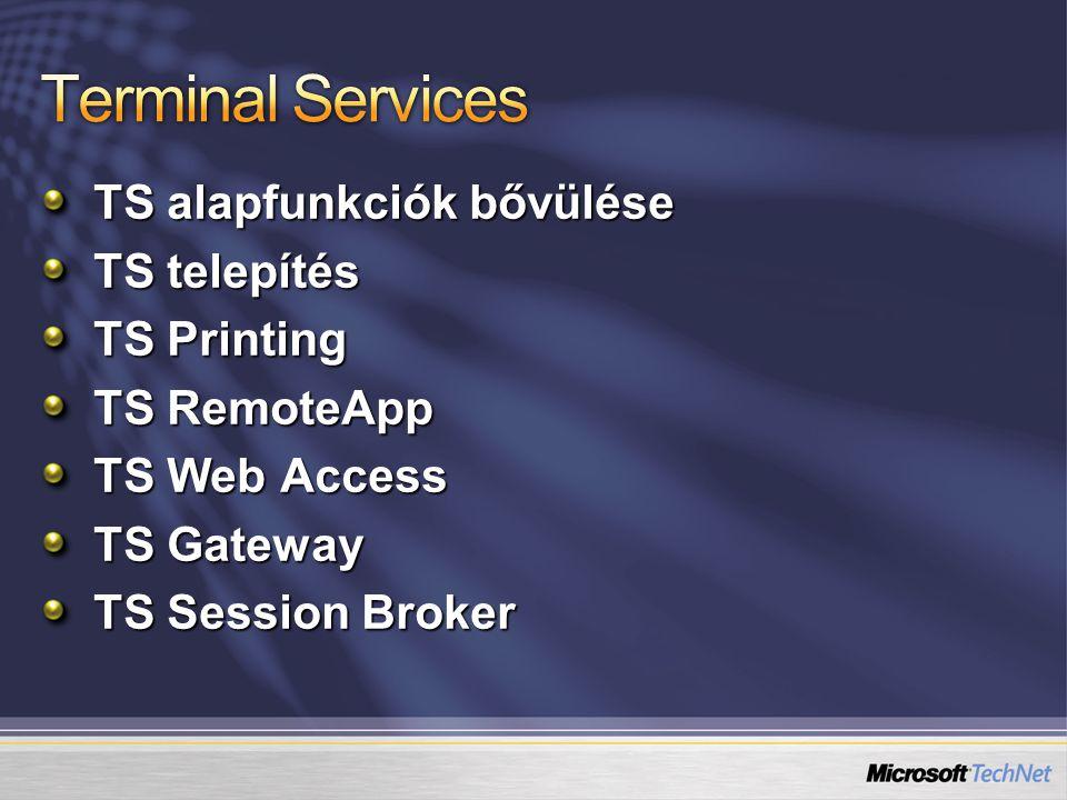 TS alapfunkciók bővülése TS telepítés TS Printing TS RemoteApp TS Web Access TS Gateway TS Session Broker