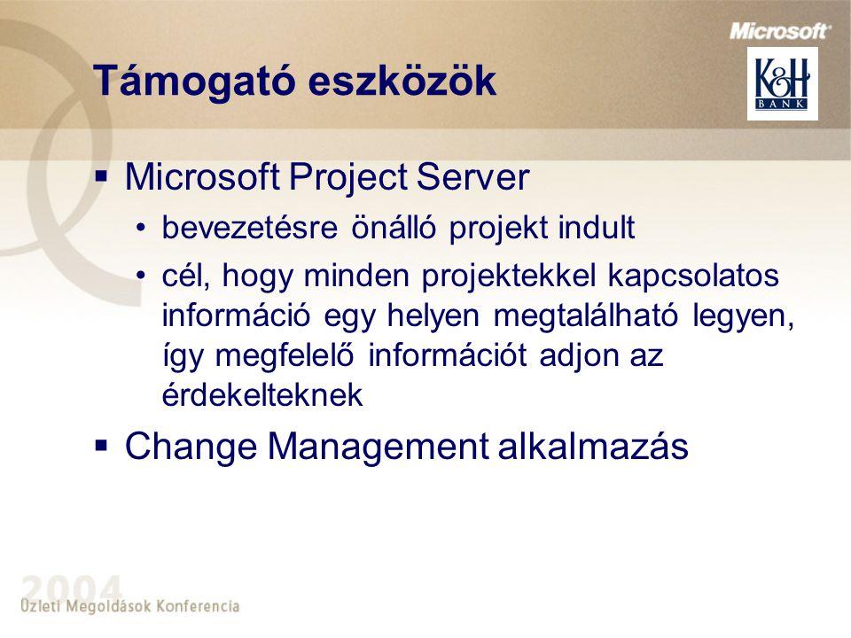 Támogató eszközök  Microsoft Project Server bevezetésre önálló projekt indult cél, hogy minden projektekkel kapcsolatos információ egy helyen megtalálható legyen, így megfelelő információt adjon az érdekelteknek  Change Management alkalmazás