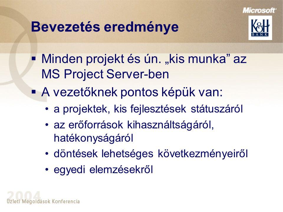 Bevezetés eredménye  Minden projekt és ún.