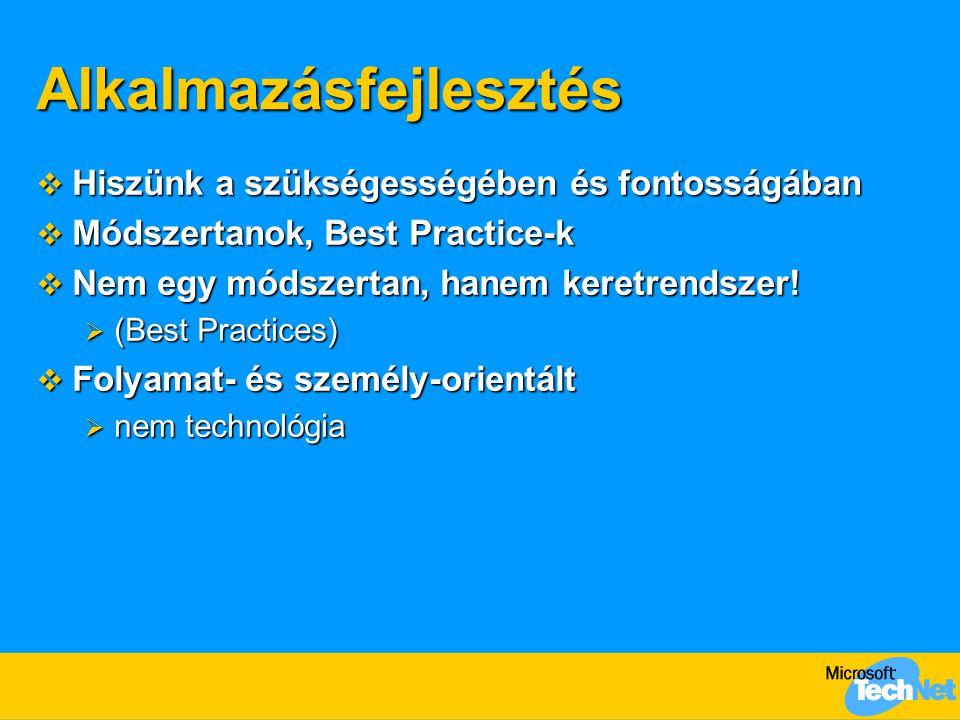 Alkalmazásfejlesztés  Hiszünk a szükségességében és fontosságában  Módszertanok, Best Practice-k  Nem egy módszertan, hanem keretrendszer.