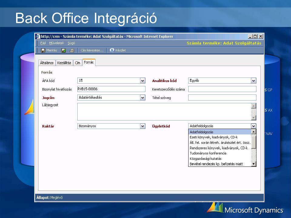 Back Office Integráció Számla
