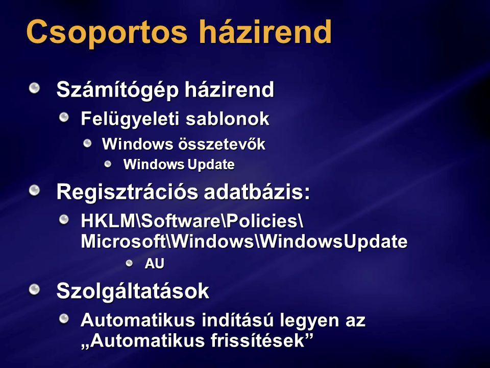 Csoportos házirend Számítógép házirend Felügyeleti sablonok Windows összetevők Windows Update Regisztrációs adatbázis: HKLM\Software\Policies\ Microso