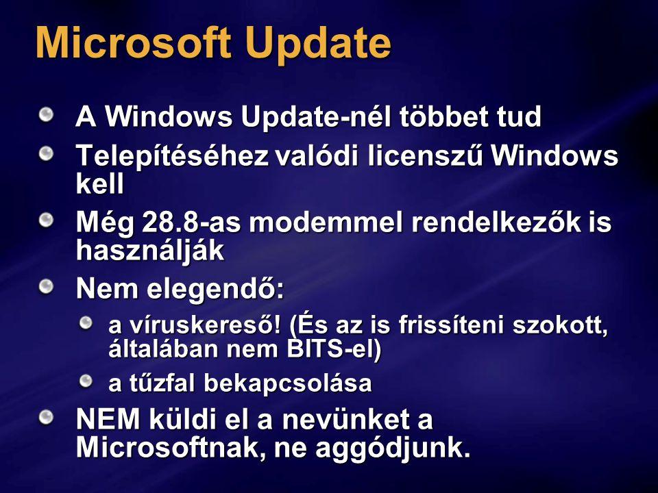 """Csoportos házirend Számítógép házirend Felügyeleti sablonok Windows összetevők Windows Update Regisztrációs adatbázis: HKLM\Software\Policies\ Microsoft\Windows\WindowsUpdate AUSzolgáltatások Automatikus indítású legyen az """"Automatikus frissítések"""