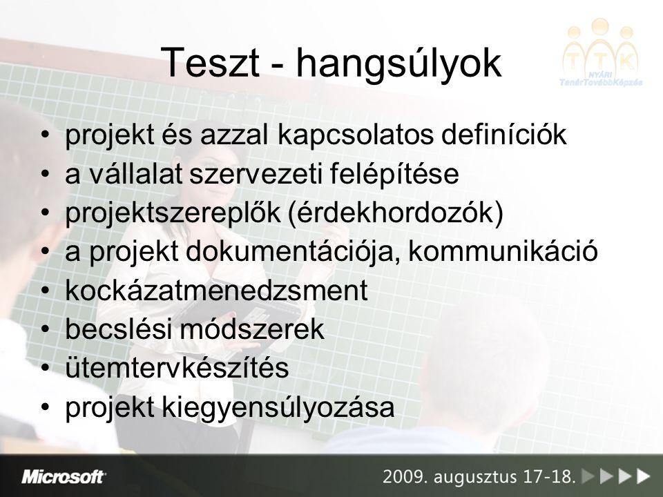 Teszt - hangsúlyok projekt és azzal kapcsolatos definíciók a vállalat szervezeti felépítése projektszereplők (érdekhordozók) a projekt dokumentációja,