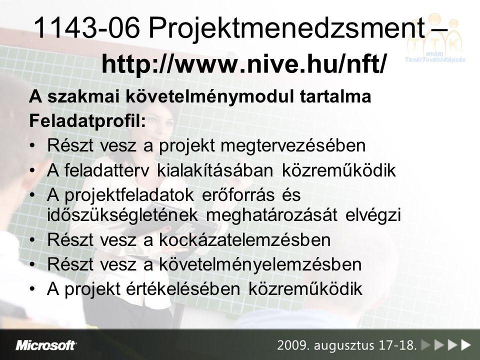 Projekttervező szoftver használat – pontszámpélda I.: Feladat: határozza meg a projekt költségét –a vizsgázó elrontotta az erőforrás- hozzárendelést –a vizsgázó projektjének költségeit viszont jól határozta meg Jár a pont a projektköltség meghatározásáért, bár az eltér a kiírtaktól.