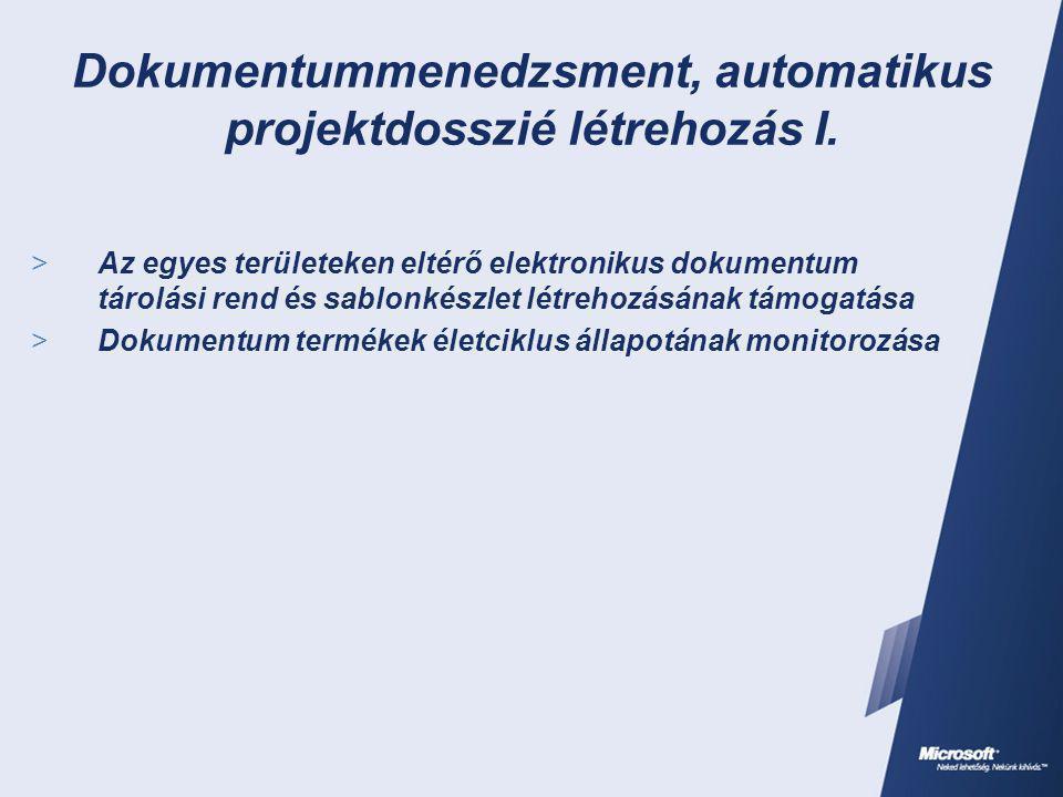 Dokumentummenedzsment, automatikus projektdosszié létrehozás I.  Az egyes területeken eltérő elektronikus dokumentum tárolási rend és sablonkészlet l