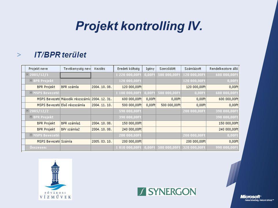 Projekt kontrolling IV.  IT/BPR terület