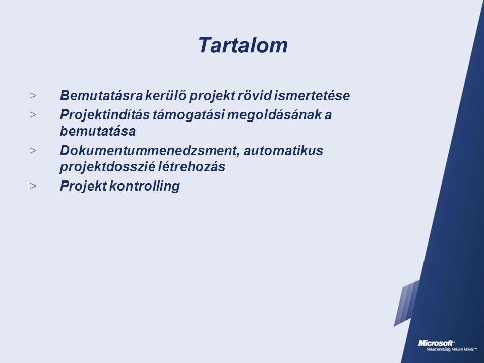 Tartalom  Bemutatásra kerülő projekt rövid ismertetése  Projektindítás támogatási megoldásának a bemutatása  Dokumentummenedzsment, automatikus projektdosszié létrehozás  Projekt kontrolling