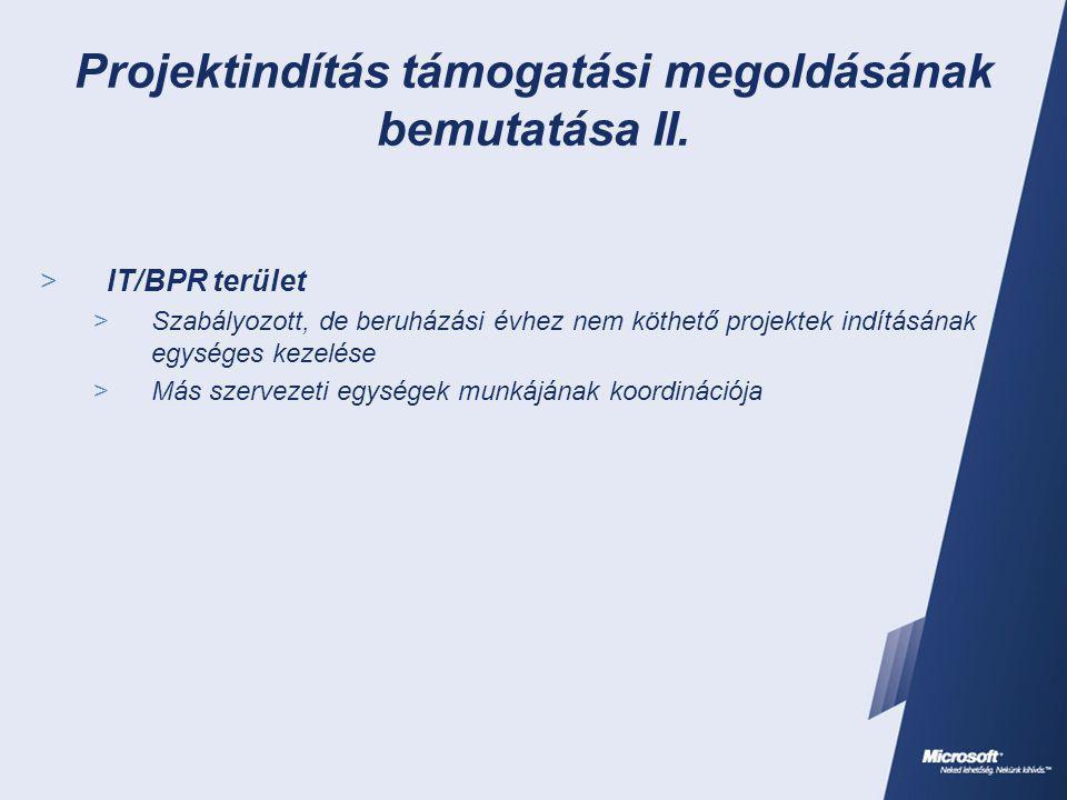 Projektindítás támogatási megoldásának bemutatása II.  IT/BPR terület  Szabályozott, de beruházási évhez nem köthető projektek indításának egységes
