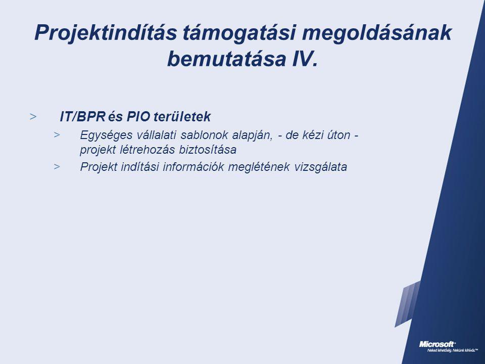 Projektindítás támogatási megoldásának bemutatása IV.  IT/BPR és PIO területek  Egységes vállalati sablonok alapján, - de kézi úton - projekt létreh