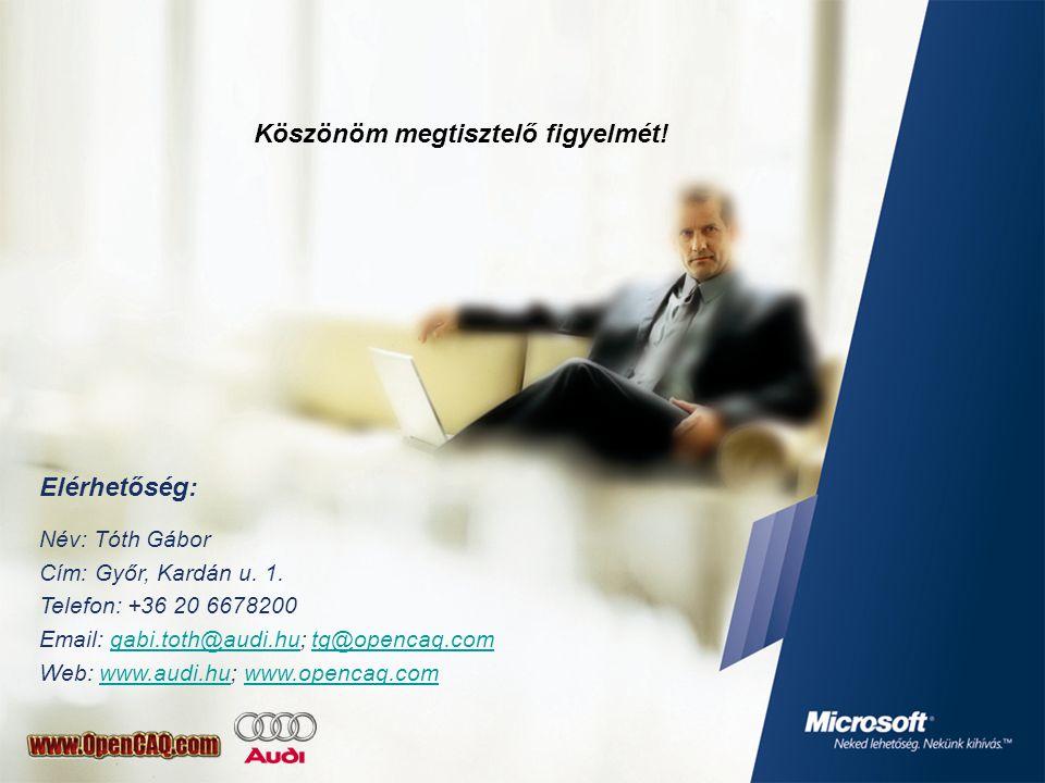 Köszönöm megtisztelő figyelmét. Elérhetőség: Név: Tóth Gábor Cím: Győr, Kardán u.