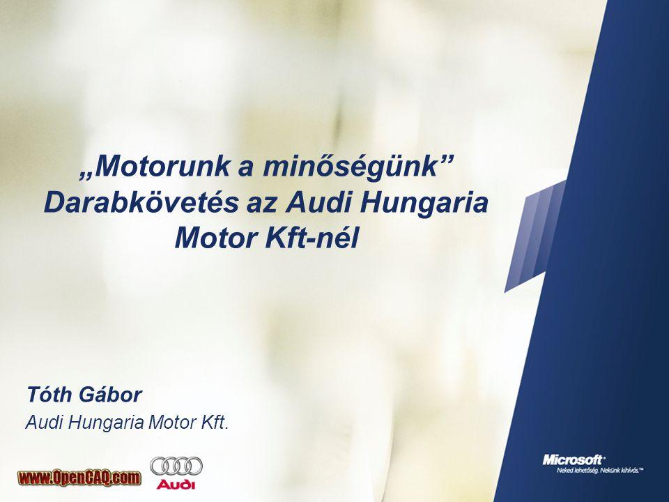 """""""Motorunk a minőségünk Darabkövetés az Audi Hungaria Motor Kft-nél Tóth Gábor Audi Hungaria Motor Kft."""