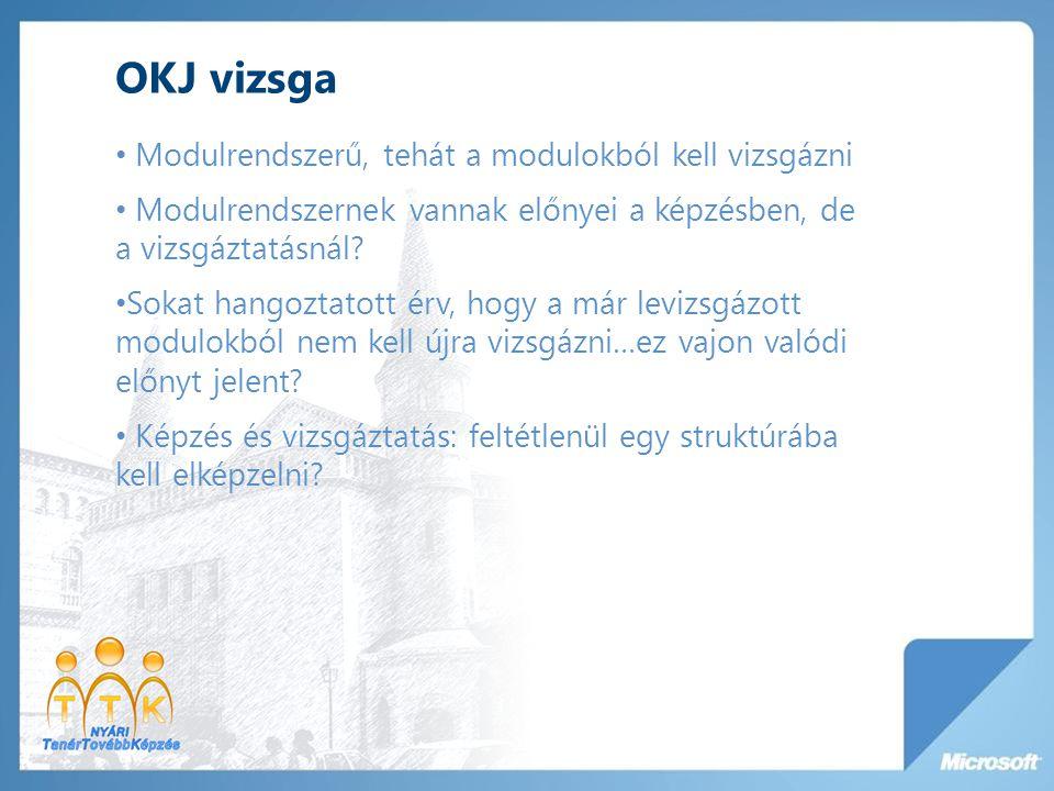 OKJ vizsga Modulrendszerű, tehát a modulokból kell vizsgázni Modulrendszernek vannak előnyei a képzésben, de a vizsgáztatásnál.