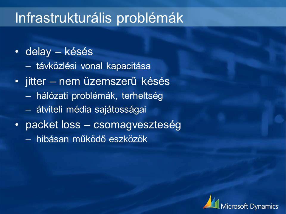 Infrastrukturális problémák delay – késés –távközlési vonal kapacitása jitter – nem üzemszerű késés –hálózati problémák, terheltség –átviteli média sajátosságai packet loss – csomagveszteség –hibásan működő eszközök