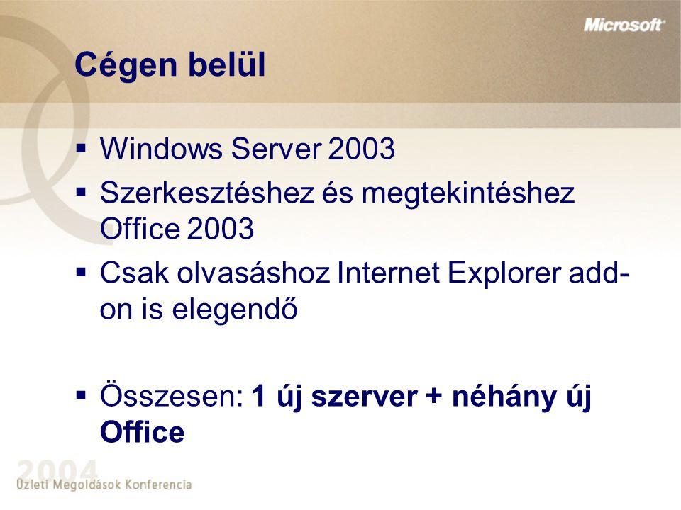 Cégen belül  Windows Server 2003  Szerkesztéshez és megtekintéshez Office 2003  Csak olvasáshoz Internet Explorer add- on is elegendő  Összesen: 1 új szerver + néhány új Office