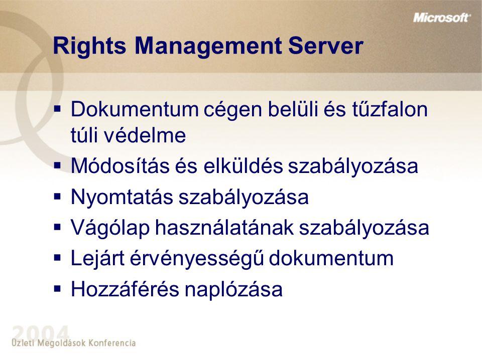 Rights Management Server  Dokumentum cégen belüli és tűzfalon túli védelme  Módosítás és elküldés szabályozása  Nyomtatás szabályozása  Vágólap használatának szabályozása  Lejárt érvényességű dokumentum  Hozzáférés naplózása