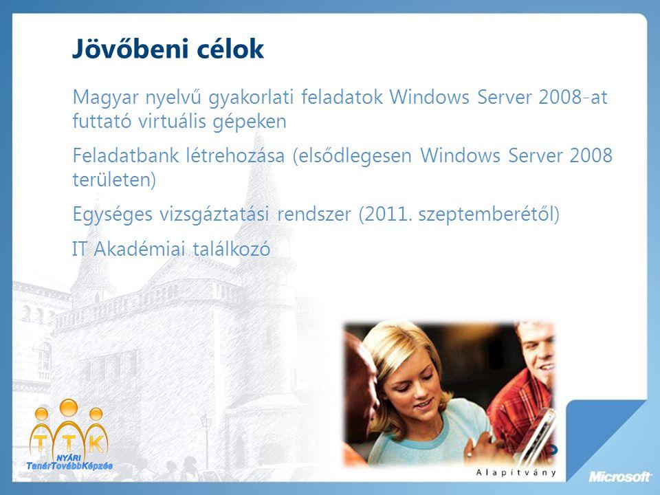 Jövőbeni célok Magyar nyelvű gyakorlati feladatok Windows Server 2008-at futtató virtuális gépeken Feladatbank létrehozása (elsődlegesen Windows Server 2008 területen) Egységes vizsgáztatási rendszer (2011.