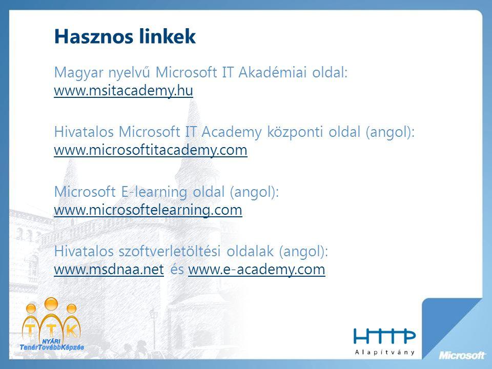 Hasznos linkek Magyar nyelvű Microsoft IT Akadémiai oldal: www.msitacademy.hu www.msitacademy.hu Hivatalos Microsoft IT Academy központi oldal (angol): www.microsoftitacademy.com www.microsoftitacademy.com Microsoft E-learning oldal (angol): www.microsoftelearning.com www.microsoftelearning.com Hivatalos szoftverletöltési oldalak (angol): www.msdnaa.net és www.e-academy.com www.msdnaa.netwww.e-academy.com