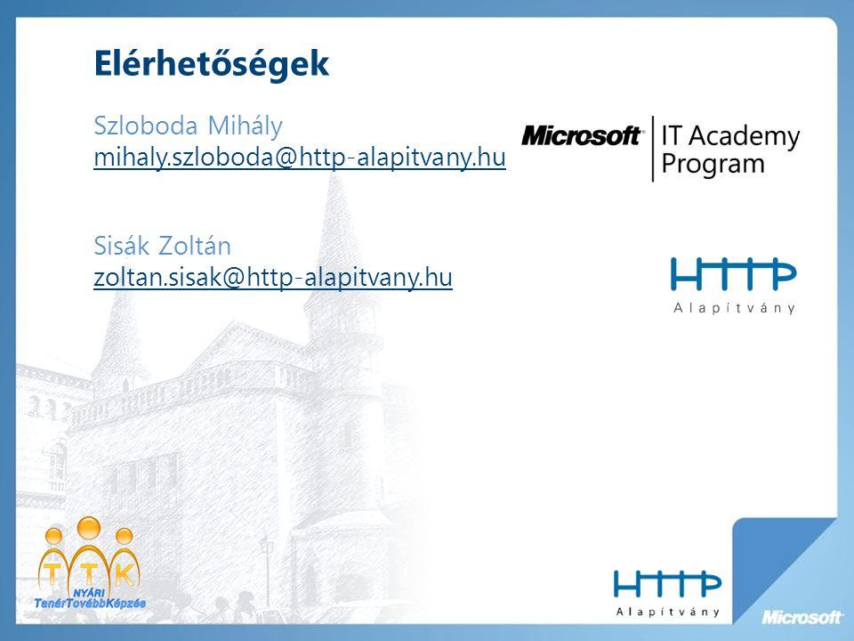 Elérhetőségek Szloboda Mihály mihaly.szloboda@http-alapitvany.hu mihaly.szloboda@http-alapitvany.hu Sisák Zoltán zoltan.sisak@http-alapitvany.hu zoltan.sisak@http-alapitvany.hu