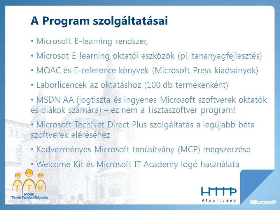 A Program szolgáltatásai Microsoft E-learning rendszer, Microsot E-learning oktatói eszközök (pl.