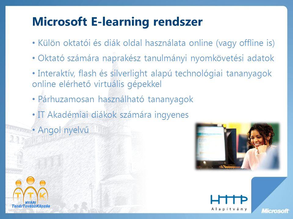 Microsoft E-learning rendszer Külön oktatói és diák oldal használata online (vagy offline is) Oktató számára naprakész tanulmányi nyomkövetési adatok Interaktív, flash és silverlight alapú technológiai tananyagok online elérhető virtuális gépekkel Párhuzamosan használható tananyagok IT Akadémiai diákok számára ingyenes Angol nyelvű