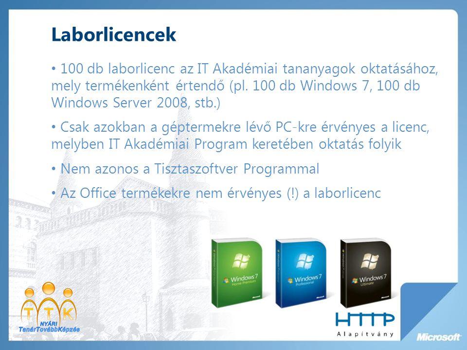 Laborlicencek 100 db laborlicenc az IT Akadémiai tananyagok oktatásához, mely termékenként értendő (pl.