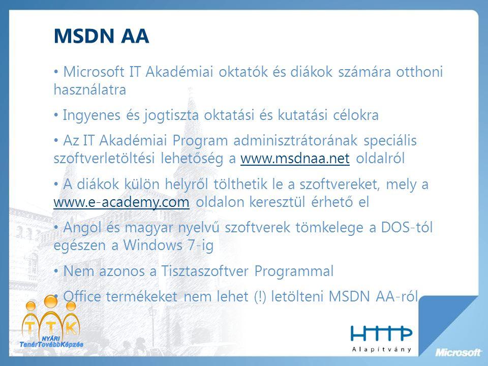 MSDN AA Microsoft IT Akadémiai oktatók és diákok számára otthoni használatra Ingyenes és jogtiszta oktatási és kutatási célokra Az IT Akadémiai Program adminisztrátorának speciális szoftverletöltési lehetőség a www.msdnaa.net oldalrólwww.msdnaa.net A diákok külön helyről tölthetik le a szoftvereket, mely a www.e-academy.com oldalon keresztül érhető el www.e-academy.com Angol és magyar nyelvű szoftverek tömkelege a DOS-tól egészen a Windows 7-ig Nem azonos a Tisztaszoftver Programmal Office termékeket nem lehet (!) letölteni MSDN AA-ról