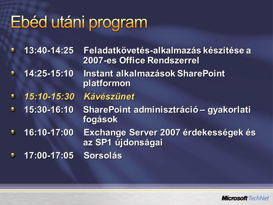13:40-14:25 Feladatkövetés-alkalmazás készítése a 2007-es Office Rendszerrel 14:25-15:10 Instant alkalmazások SharePoint platformon 15:10-15:30 Kávészünet 15:30-16:10 SharePoint adminisztráció – gyakorlati fogások 16:10-17:00 Exchange Server 2007 érdekességek és az SP1 újdonságai 17:00-17:05 Sorsolás
