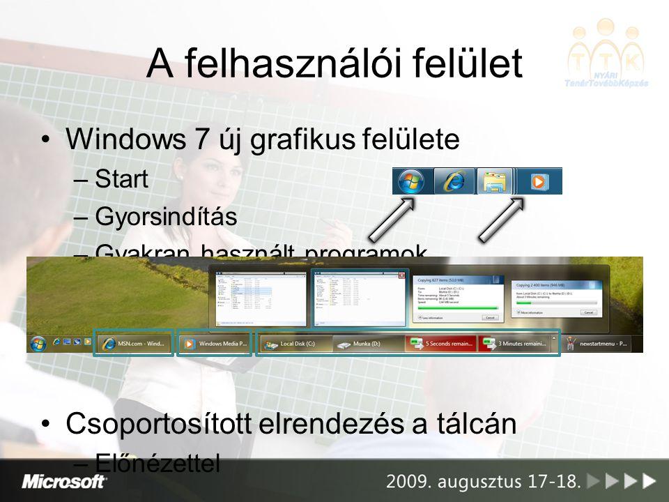 A felhasználói felület Windows 7 új grafikus felülete –Start –Gyorsindítás –Gyakran használt programok Csoportosított elrendezés a tálcán –Előnézettel